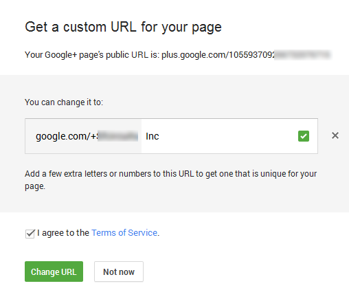 Get Custom URL in google+