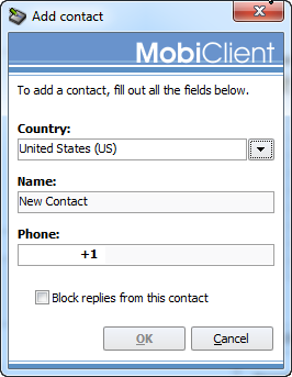 Add contact in MobiClient